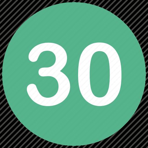 count, math, mathematics, number, thirty icon