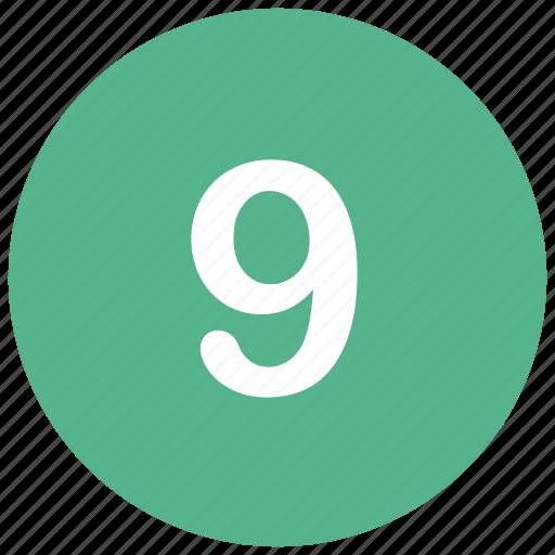 count, math, mathematics, nine, number icon