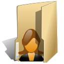 female, folder, user icon