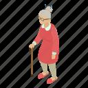 age, grandma, grandmother, granny, isometric, object, portrait