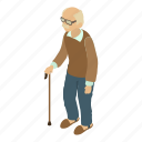 age, character, grandad, isometric, man, object, old