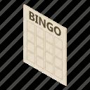 bingo, card, cut, game, isometric, leisure, object
