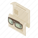 article, isometric, media, news, newspaper, object, web