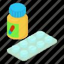 antibiotic, capsule, drug, isometric, medicine, object, pills