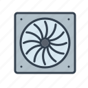 blower, components, cooler, electronics, fan, technology icon
