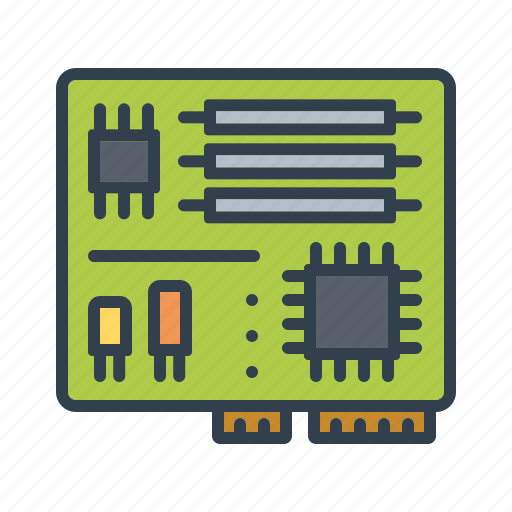 components, computer, electronics, mainboard, motherboard, processor, technology icon