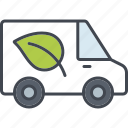 ecology, environment, leaf, nature, transportation, truck, van icon