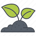 ecology, environment, growth, nature, plant, soil, sprout icon