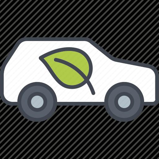 car, ecology, environment, leaf, nature, transportation, vehicle icon
