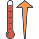 climate change, ecology, environment, nature, rising, temperature, thermometer icon