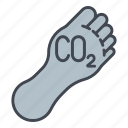 carbon, carbon footprint, ecology, environment, foot, nature, pollution icon