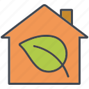 building, ecology, environment, home, house, leaf, nature icon