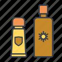 cosmetics, holidays, summer, sunblocker, tanning lotion, travel, vacation icon