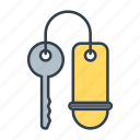 holidays, hotel key, key tag, security, summer, travel, vacation icon