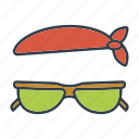 accessories, bandana, holidays, summer, sunglasses, travel, vacation icon
