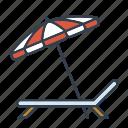 beach umbrella, holidays, parasol, summer, sunbed, travel, vacation icon
