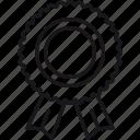 achievement, award, badge, honour, ribbon, rosette, success