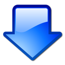 arrow, blue, down, download icon