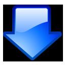 arrow, blue, down, download icon