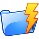 folder, lightning, power icon