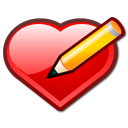 bookmark, edit, heart, love, pen