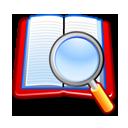 book, search, zoom icon