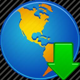 down arrow, download, globe, guardar, internet, save, store, web icon