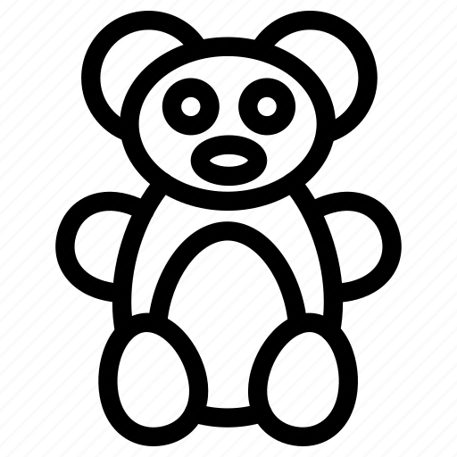 animal, baby, bear, creative, grid, line, objects, pet, shape, soft, teddy, toy icon