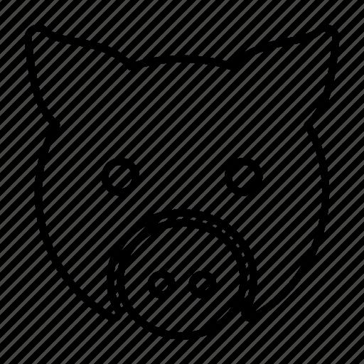 animal, face, head, pig, piggy icon