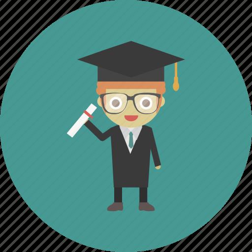 avatar, bachelor, character, degree, diploma, man, people icon