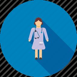 doctor, female, healthcare, hospital, lady, medical, medicine icon