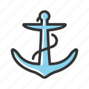 anchor, equipment, marine, metal, nautical, sea, ship icon