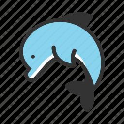 animal, dolphin, fish, marine, nature, ocean, swim icon