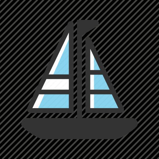 boat, sail, sailboat, sea, ship, transport, travel icon