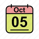 calendar, date, oct, october, schedule icon, th icon