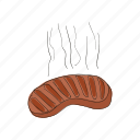 cartoon, food, grill, hot, meat, sausage, tasty icon