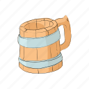 alcohol, beer, cartoon, drink, lager, mug, wooden icon