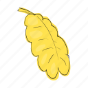 acorn, cartoon, design, leaf, nature, oak, yellow