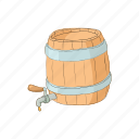 barrel, beer, cartoon, faucet, metal, ring, round icon