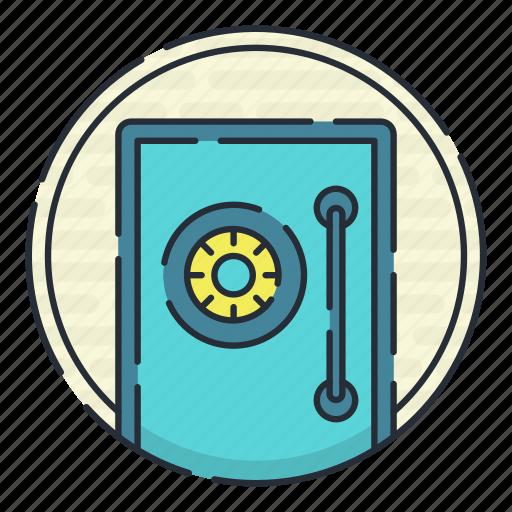 access, key, lock, protection, shield, vault icon