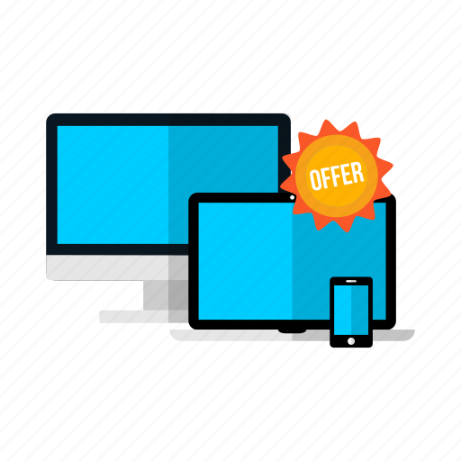 desktop, discount, laptop, monitor, offer, phone, sale icon