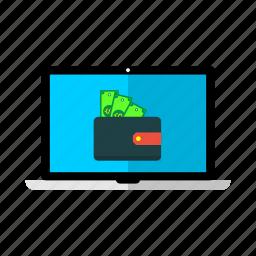 cash, desktop, lcd, money, monitor, offer, wallet icon