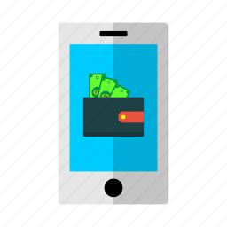 cash, discount, mobilephone, money, offer, sale, wallet icon