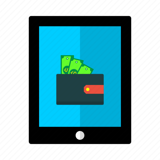 cash, discount, money, offer, tab, tablet, wallet icon