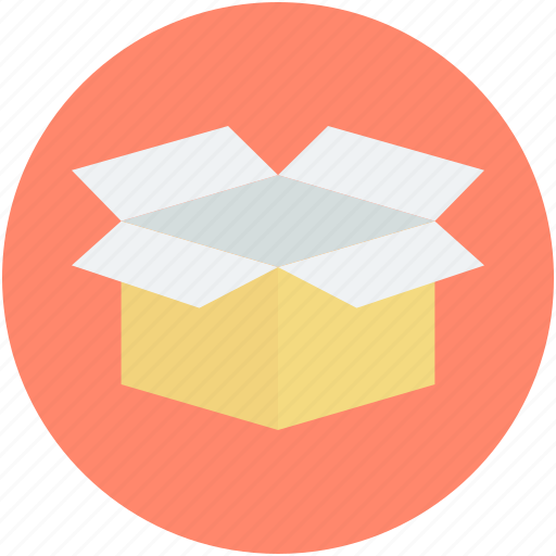 container, opened box, package box, packaging, packing icon