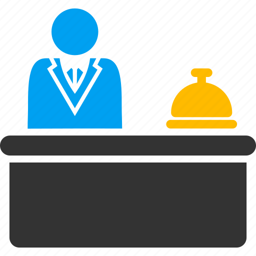 help desk, hotel, lobby, reception, receptionist, service, support icon