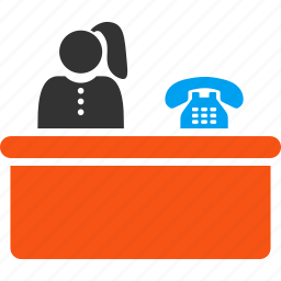 help desk, lobby, operator, reception, receptionist, service, support icon