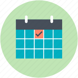 calendar, checkmark, date, day, wall calendar, yearbook icon