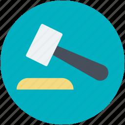 auction, auction hammer, gavel, hammer, mallet icon