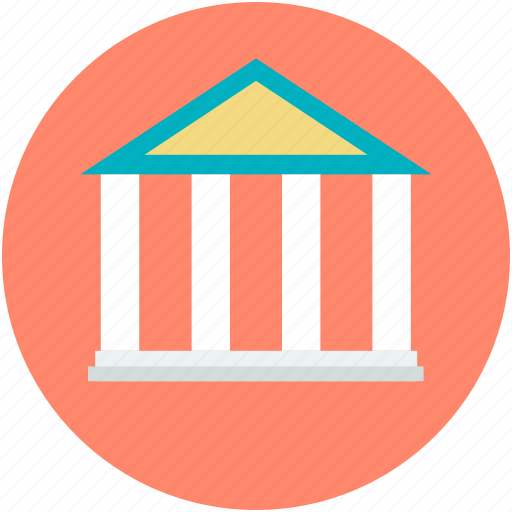 bank building, building, building columns, building front, real estate icon